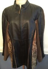 2X Koos of Course!  Leather and Fabric Zip Up Jacket Women's Plus Size Black and