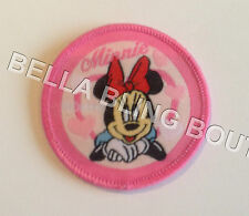 1 EMBROIDERED GIRLS MINNIE MOUSE PINK IRON ON SEW ON PATCH APPLIQUE