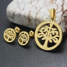 TREE OF LIFE PENDANT NECKACE & EARRING STUD SET - GOLD SS -46CM CHAIN EXTENDABLE