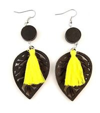 1 Pair Black Lightweight Laser Cut Wood Dangle Earrings with Yellow Tassels #69