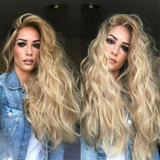 Hot Lace Front Wig Synthetic Sexy Long Wavy Hair Ash Blonde Heat Resistant Hair