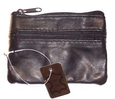 Black Leather Coin Purse / Mini Wallet / Key Pouch - 2 Zippered Sections