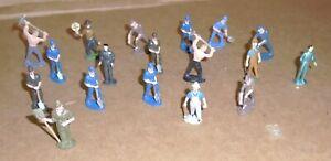 "> Assortment of (18) Cast Metal, Multi Colored O-Gauge Train Layout Figures"""