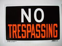 """12 Pack   Red & White 8x12 Inch Flexible Plastic """"NO TRESPASSING"""" Sign's"""