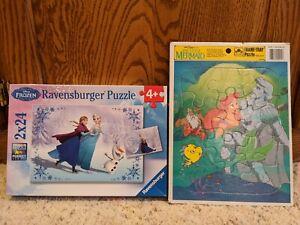 Two Walt Disney Puzzles - The Little Mermaid tray & Frozen (2x24) Anna & Elsa