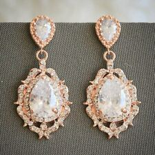 Bridal rose gold crystal earrings
