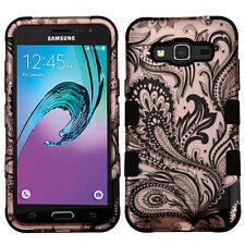 Hybrid Case+Skin Shockproof Cover for Samsung Galaxy Express Prime / Amp Prime