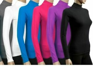Womens ladies long sleeve POLO NECK turtle roll high neck jumper top sizes 6-20