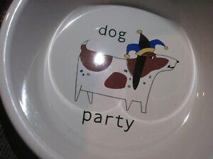 "LARGE SIGNATURE URSULA DODGE ""PARTY DOG"" STONEWARE FOOD / WATER BOWL 9.5"""