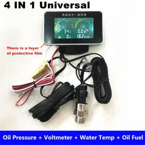 4In1 LCD Car Oil Pressure +Voltmeter +Water Temperature +Oil Fuel Gauge 12V/24V