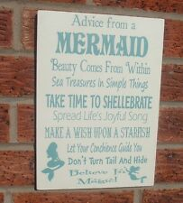 Advice from a mermaid children family sign shabby vintage chic plaque signs