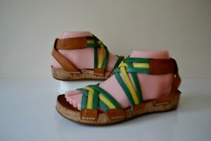 CLARKS RASPBERRY LEAF TAN MULTI LEATHER/LEATHER LINED CUSHIONED SANDALS UK 4.5D