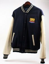 HBO Sports Vintage 90s Letterman Varsity Baseball Leather NFL Jacket Coat Men M