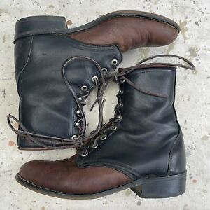 Laredo Two Tone Leather Brown & Black Equestrian Lace Up Boots Womens 9