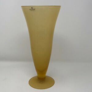 Zodax Frosted Amber/Yellow with bubbles Art Glass Trumpet Vase