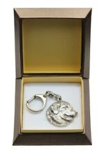 Leonberger - silver covered keyring with dog in box, gift, Art Dog IE