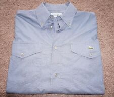 Chemise Lacoste Men's Short Sleeve Solid Gray Dress Casual Cotton Shirt Size 39