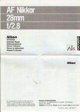 Instruction User's Manual Nikon AF Nikkor 28mm f/2.8 Multilingual