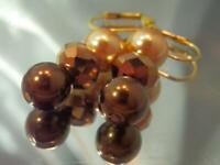 Pretty Art Glass Gold Tone Faux Pearl Vintage 80's Dangle Pierced Earrings 879f1