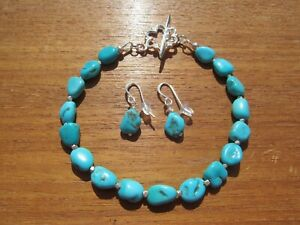 GENUINE NATURAL SLEEPING BEAUTY TURQUOISE NUGGETS BEADS STERLING SILVER BRACELET