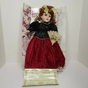 """Vintage Porcelain Doll  Collector's Choice by Barbara Collins COA 17"""" Brunette"""