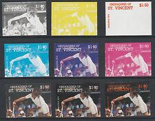 St Vincent Grens 4199 - 1987 TENNIS -Ilie Nastase set of 9 PROGRESSIVE PROOFS