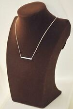-UK- Silver Plated Horizontal Bar / Column Pendant Fashion Necklace, Gift Bag