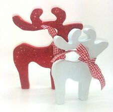 RED PALE BLUE DEER REINDEER BIRTHDAY CHRISTMAS DECORATION SHABBY CHIC HOME