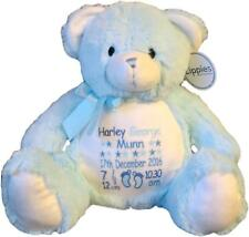 Personalised Teddy Bear Baby Shower Gift Newborn Boy Birth Details Blue Gift