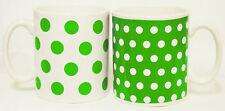 Grün Punkte und Punkte Becher 2er Set grün & weiß Porzellan Becher Verziert UK