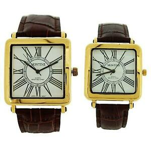 Montine Analogue His & Hers Brown Leather Strap Buckle Watch Gift Set MOW3194