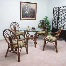 Walnut Sundance Rattan Dining 5PC Set (4 Arm Chairs And Table W/Glass