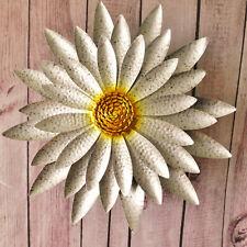 Giant Silver Yellow Sunflower Metal Plaque Round Flower Outdoor Garden Wall Art