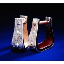 """Tough-1 Royal King Silver 3"""" Neck Western Bell Stirrups Youth Light Oil"""