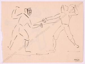 "Rudolf Raimund Ballabene (1890-1968) ""Fencers"", Drawing, 1930s"