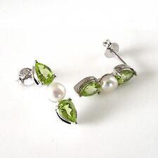 Sterling Silver 2 Cttw Genuine Peridot & 4.5mm Freshwater Pearl Drop Earrings