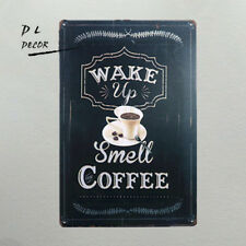 DL- Notice wake up smell coffee metal sign decoracion hogar for bar shop cafe