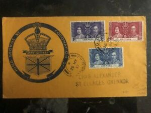 1937 Grenada King George VI Coronation FDC First Day Cover KGVI Domestic Used