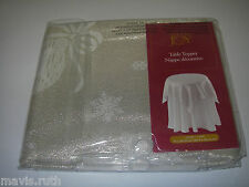 """Table Linens Table Topper 34"""" sq. Christmas by Holiday Joy White/gold sparkle"""