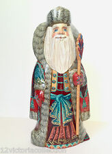 Russian SANTA Wooden Hand Carved Hand Painted SIGNED by artist Father Frost