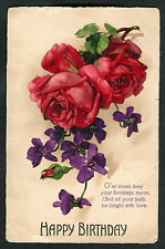 C1920s Birthday Card: Illustrated Red Roses: Be Bright With Love