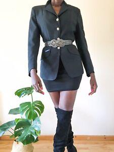 Ladies Slim Fitted Blazer Black vintage uk size 10 polyester smart casual