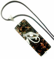 Orgone Orgonite necklace pendant Eye of Horus, Black Tourmaline, protection.