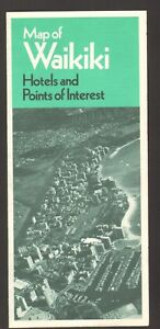 Souvenir Travel Brochure Maps of Waikiki Hawaii Hotels Points of Interest 1986