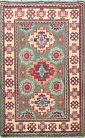 Geometric Green Super Kazak Oriental Area Rug Hand-Knotted Home Decor Carpet 2x3