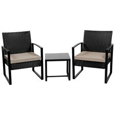 3Pcs Wicker Furniture Set Patio Rattan Chairs Table Backyard Wicker Chairs Set