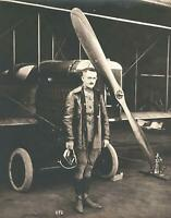 c. 1910's World War I American Fighter Pilot in Front of Biplane Large Photo