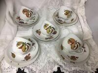 Set Of 5 Royal Worcester Evesham Gold Trios Cups Saucers Side Plates