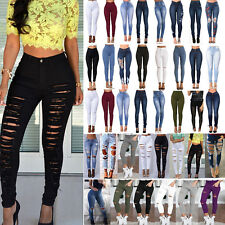 Women Skinny Pants Rip Jeggings Stretchy High Waist Jeans Pencil Denim Trousers