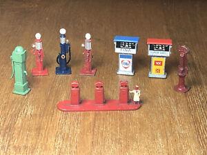 8x Vintage Diecast PETROL PUMPS, WATER PUMP etc Dinky, Lesney etc - Most VGC